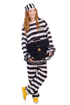 Robe: Girl in prisoner robe isolated on white Stock Photo