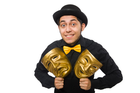 puppetry: Young man with golden Venetian mask isolated on white