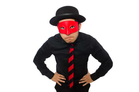 Young man with red mask isolated on white photo
