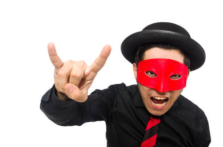 aggresive: Young man with red mask isolated on white Stock Photo