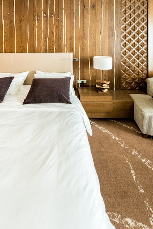 Shahdag - FEBRUARY 8, 2015: Room in Park Chalet Hotel on February 8 in Azerbaijan, Shahdag. Shahdag has become a popular tourist destination for skiing.