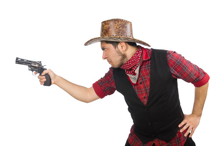 Young cowboy isolated on white photo