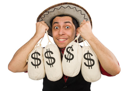 Young cowboy with money bags isolated on white photo