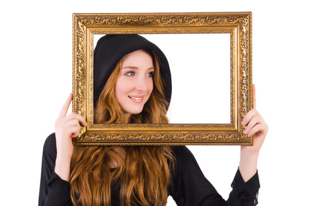 Cute witch with frame picture isolated on white Stock Photo