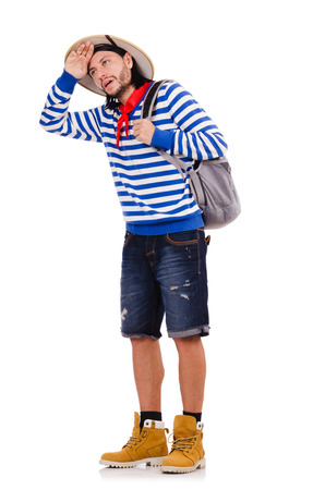 wearied: A tourist with bags isolated on white Stock Photo
