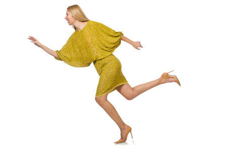 tall woman: Pretty tall woman in yellow dress isolated on white