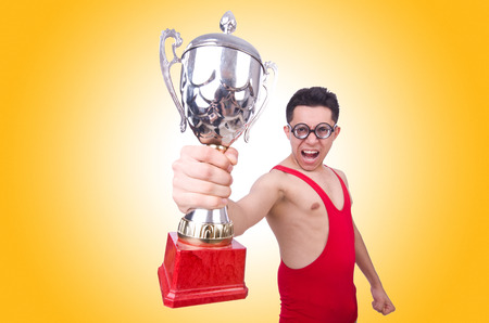 winner: Funny wrestler with winners cup