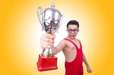 ganador: Luchador divertido con la taza de los ganadores