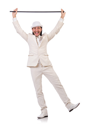 merry dancers: Gentleman in white suit isolated on white