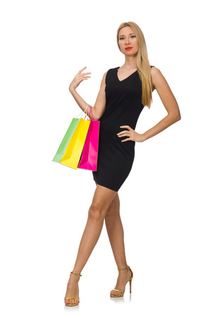 Woman after shopping spree on white Stock Photo