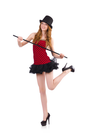 Girl in red polka-dot dress isolated on white photo