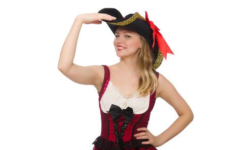 pirata mujer: Pirata de la mujer aislada en blanco