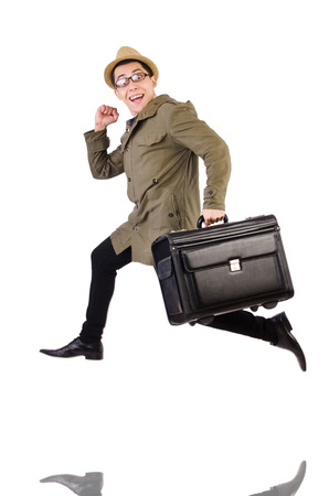 Young man with briefcase isolated on white photo