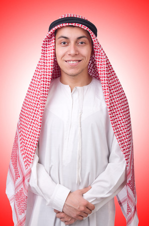 kandura: Young arab man isolated on white Stock Photo