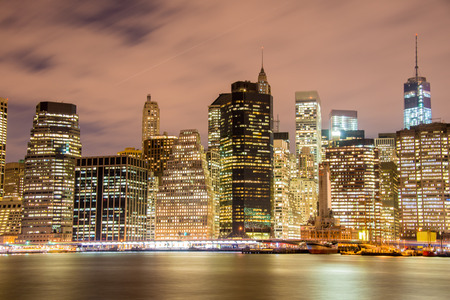 new york skyline: Night panorama of Manhattan in New York, USA