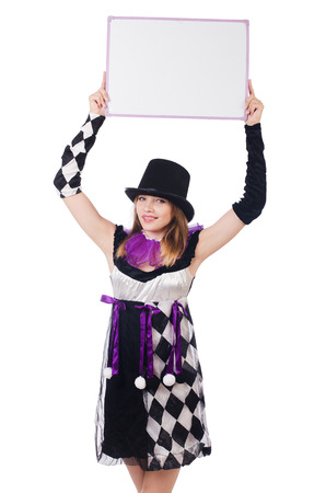 Girl in harlequin costume isolated on white photo