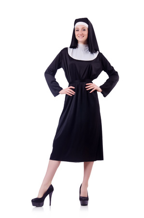 vestment: Nun isolated on the white background
