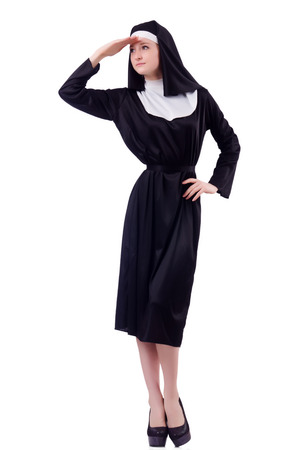 furthest: Nun isolated on the white background