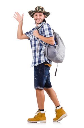 personas saludando: Viajero joven con mochila aislado en blanco Foto de archivo