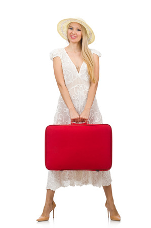 Woman with red suitcase isolated on white photo
