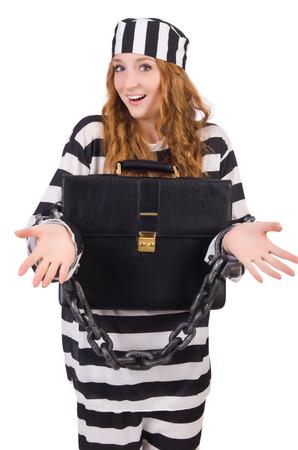 Girl in prisoner robe isolated on white Stock Photo