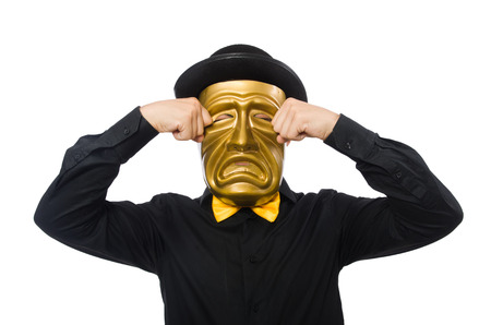 tearful: Young man with golden Venetian mask isolated on white
