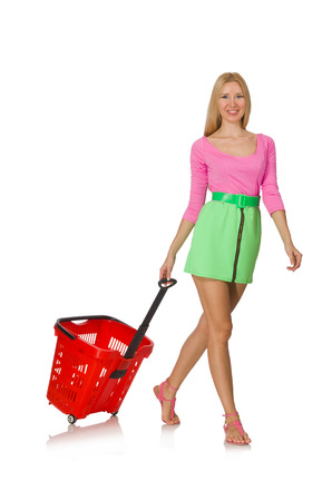 reach customers: Woman in shopping concept isolated on white