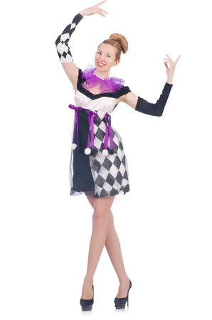 merry dancers: A girl in harlequin costume isolated on white