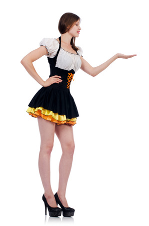 Girl in bavarian costume isolated on white photo