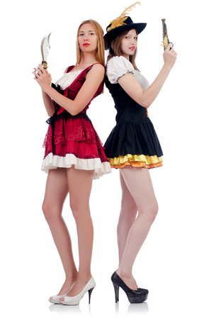 german handgun: Girls in bavarian costumes isolated on white Stock Photo
