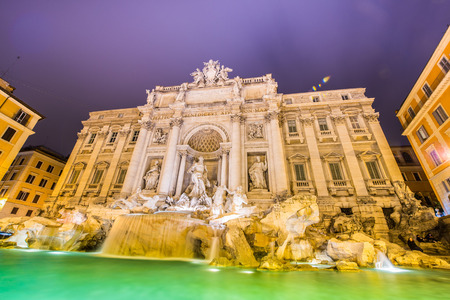 Fountain Trevi during evening hours in Rome