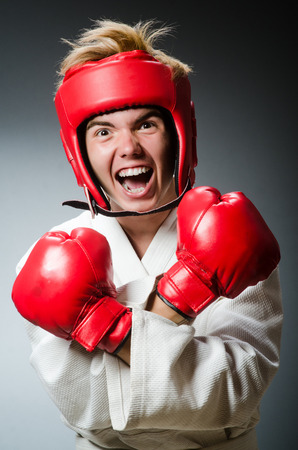 feeble: Funny boxer in sport concept