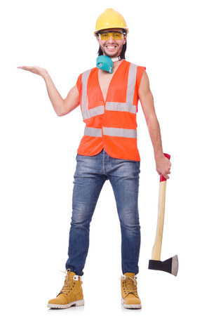 safety googles: Foreman with axe isolated on white