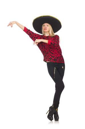 merry dancers: Funny mexican woman wearing sombrero isolated on white
