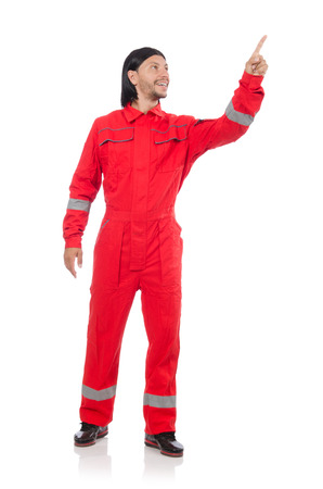 overall: Technician in orange overall isolated on white Stock Photo