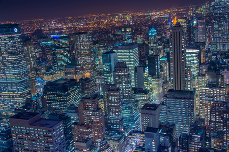 empire state building: Famous skyscrapers of New York at night