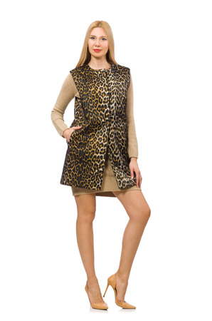 vest in isolated: Pretty young woman in leopard vest isolated on white Stock Photo
