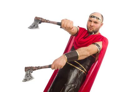 hatchet: Gladiator with hatchet isolated on white