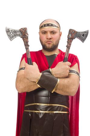 Ņhatchet: Gladiator with hatchet isolated on white