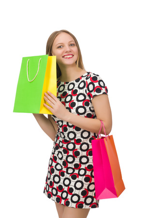 after shopping: Young woman after shopping isolated on the white Stock Photo