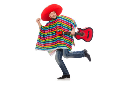 serenade: Funny mexican with guitar isolated on white Stock Photo