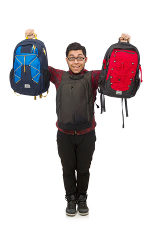 Young man with bags isolated on white photo