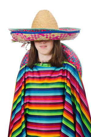 poncho: Pretty mexican girl in vivid poncho isolated on white