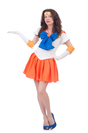Model wearing sailor moon suit isolated on white photo