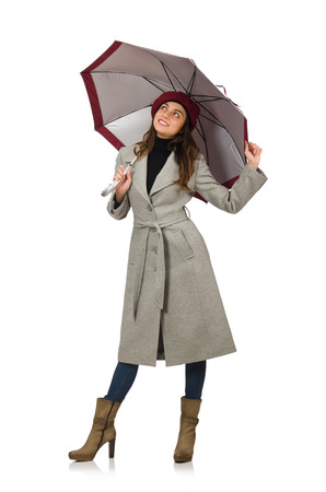 pret a porter: Woman with umbrella isolated on white Stock Photo