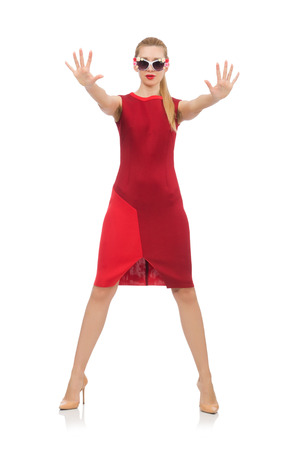 barbie: Pretty young woman in red dress isolated on white