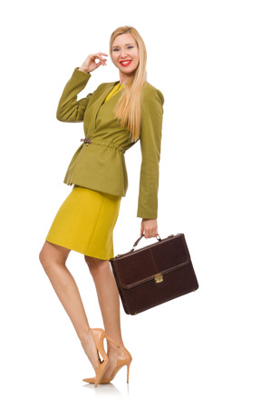 pret a porter: Young woman in vivid jacket and with briefcase isolated on white