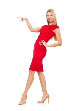 pret a porter: Blond woman in scarlet dress isolated on white Stock Photo