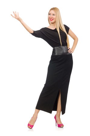 pret a porter: Young woman in black long dress isolated on white Stock Photo