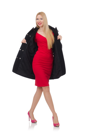 frock coat: Pretty blond lady in red dress isolated on white